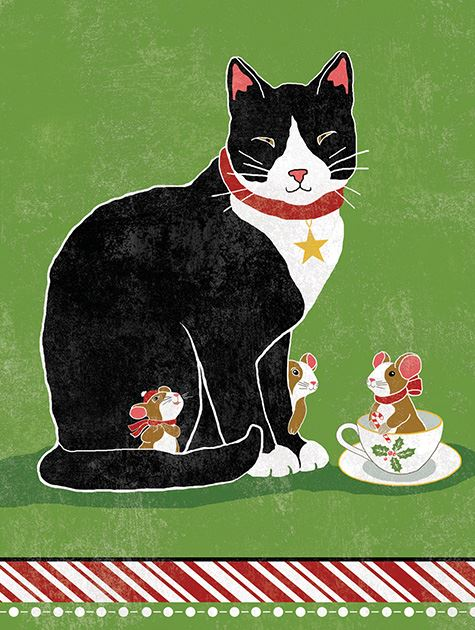 Picture of Cat and Christmas Tea